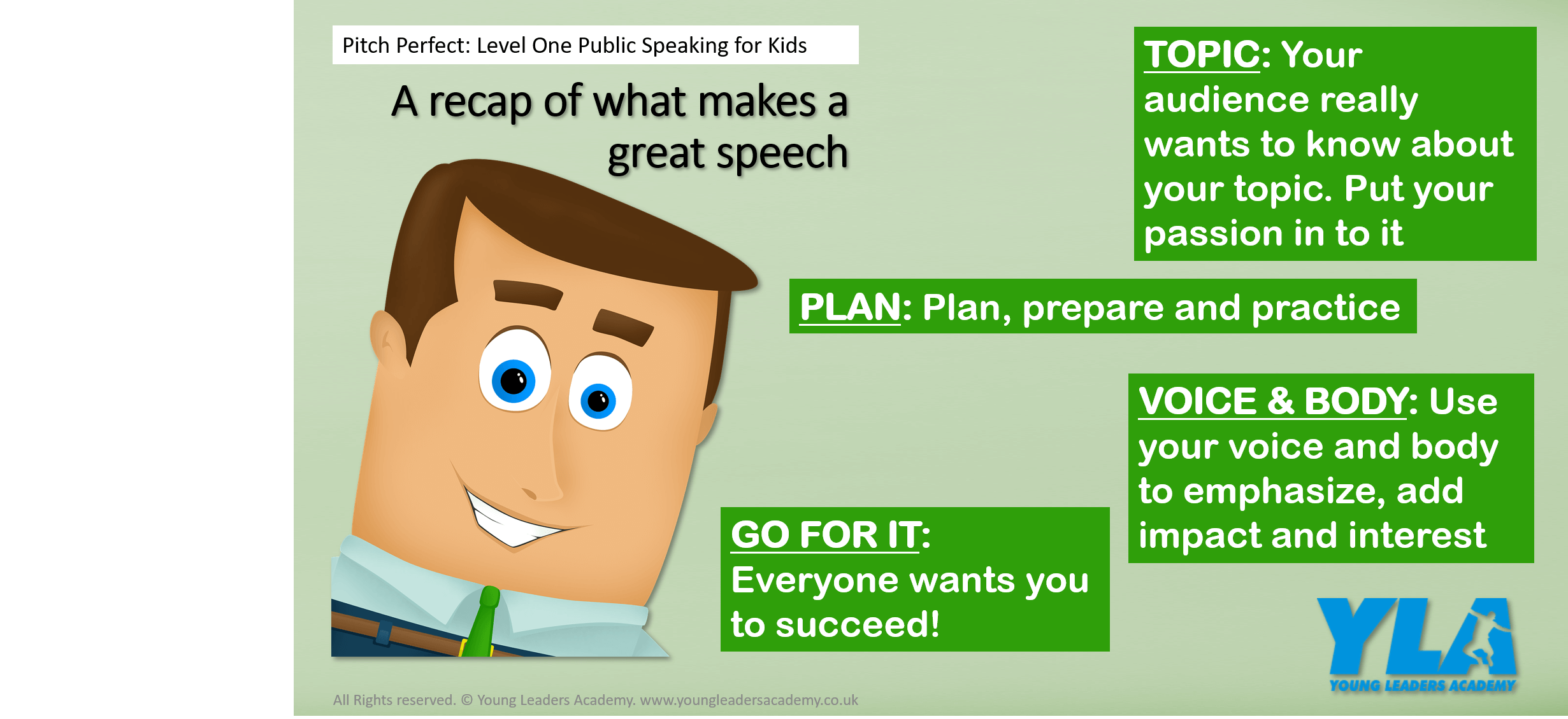 Example poster for public speaking course for kids